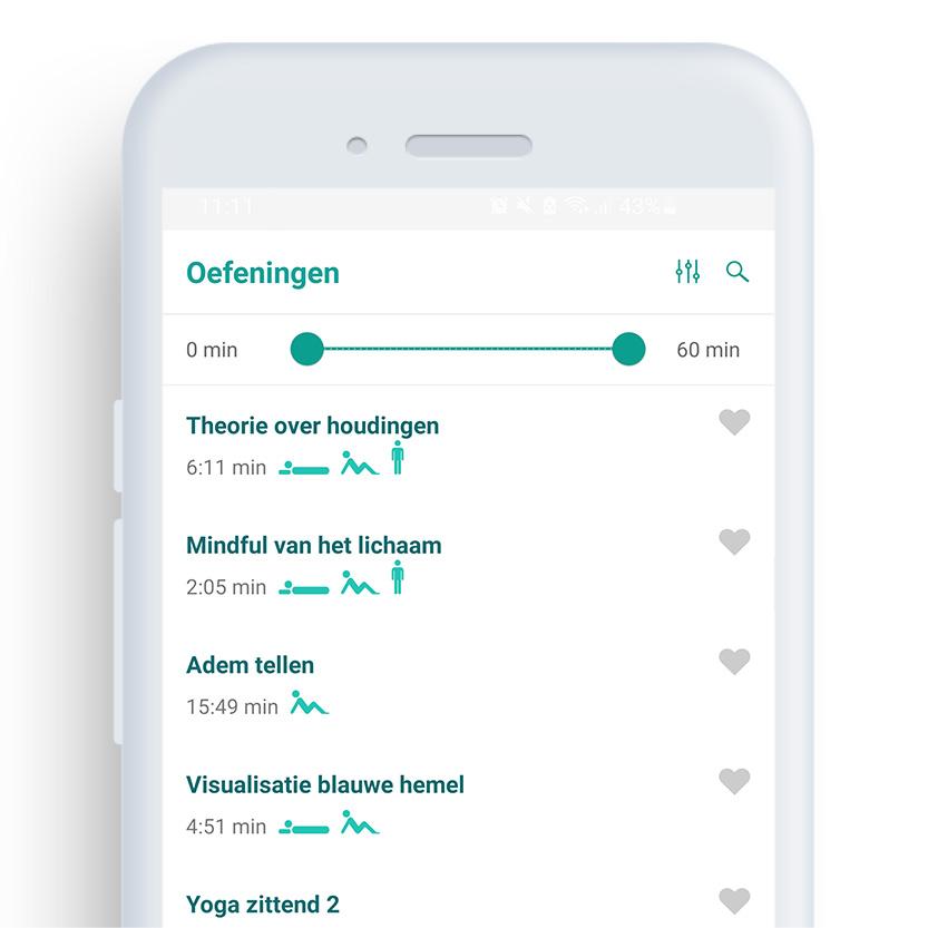 Afbeelding van een telefoon met daarop de Mindfulness coach app op het scherm 'oefeningen''