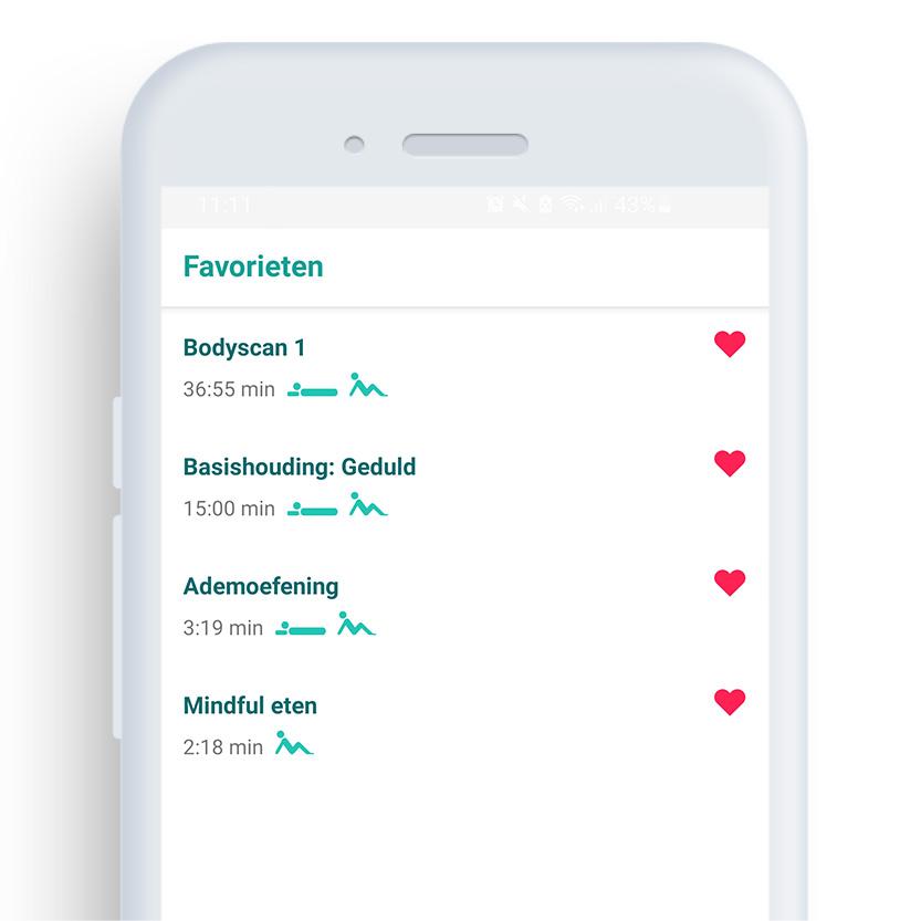 Afbeelding van een telefoon met daarop de Mindfulness coach app op het scherm 'favorieten''