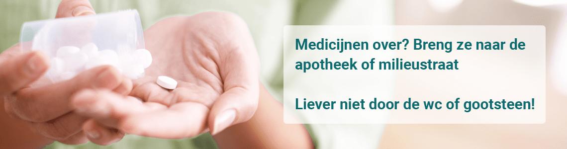 Medicijnen die over zijn kunt u inleveren bij uw apotheek of de milieustraat.