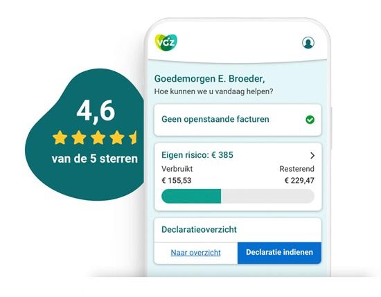 Startscherm van de VGZ Zorg app