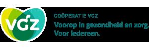 Logo VGZ, Coöperatie VGZ Voorop in gezondheid en zorg. Voor iedereen.