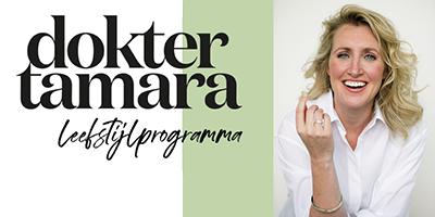 Hier zit u dokter Tamara de Weijer met de tekst 'Dokter Tamara leefstijlprogramma'.